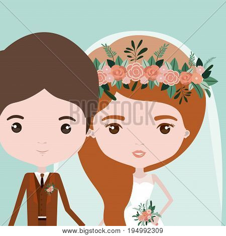 color background with half body couple of just married young man and woman with long wavy hair vector illustration