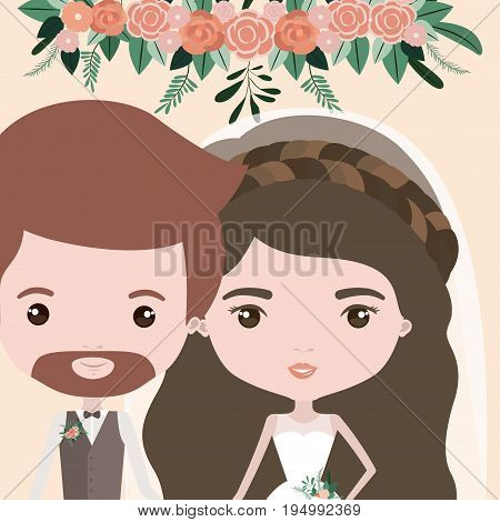 color background with half body couple of just married bearded man and woman with long wavy hair vector illustration