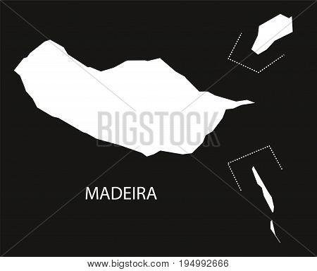 Madeira Portugal Map Black Inverted Silhouette Illustration Shape
