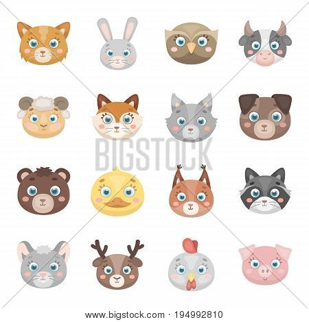 Animal muzzle set icons in cartoon design. Big collection of animal muzzle vector symbol stock illustration