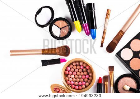 Beauty Colored Cosmetic Palette Isolated
