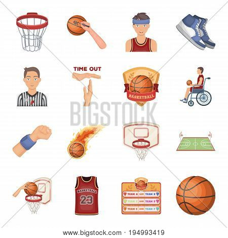 Ball, game, sport, fitness and other icons of basketball. Basketball set collection icons in cartoon style vector symbol stock illustration.