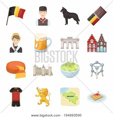 National, flag, clothing and other Belgium attributes .Belgium set collection icons in cartoon style vector symbol stock illustration.