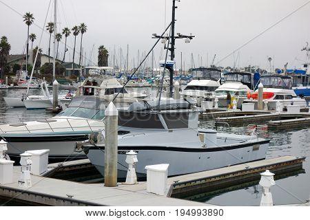 OXNARD CA USA - JULY 4 2013: Recreational and fishing boats at the dock in Oxnard marina Ventura county Southern California Pacific coast