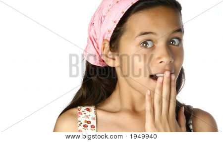 Wide Eyed Young Girl With Surprised Expression