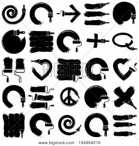 Vector art hand-painted signs collection created with smudge brushstrokes symbols drawn with paintbrush. Monochrome elements made on different social themes can be used in web and graphic design.