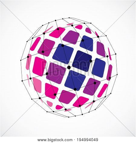 Vector dimensional wireframe low poly object spherical purple facet shape with black grid. Technology 3d mesh element made using squares for use as design form in engineering.