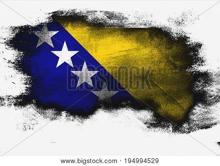 Bosnia And Herzegovina Flag Painted With Brush