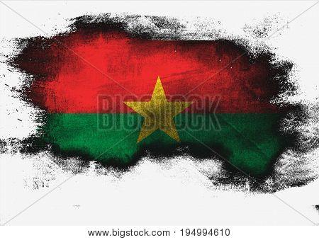 Burkina Faso Flag Painted With Brush