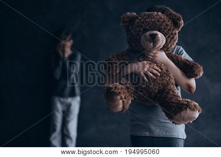 Conceptual photo of traumatic and painful childhood