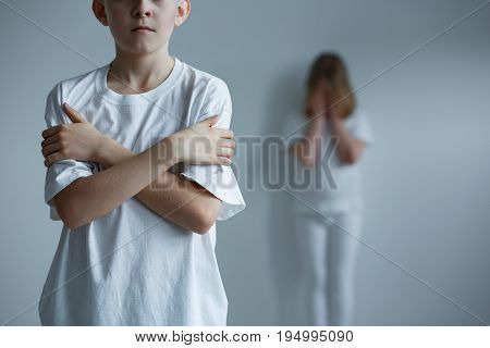 Conceptual photo horrible childhood of abused children