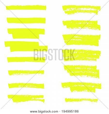 Vector highlighter brush lines. Hand drawing. Line marker