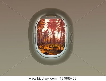 The palms trees on the island of La Digue in the plane window. Tropical Seychelles