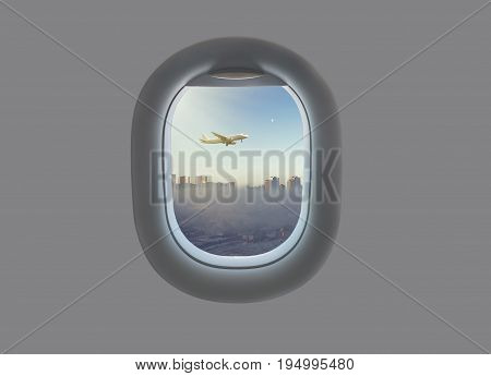 Takeoff of an airplane against the background of the city with skyscrapers in the airplane window. City of Astana in the plane window