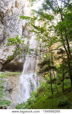 Cascade of Fondo in Alto Adige on South Tyrol in Italy