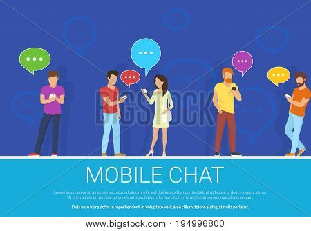 Mobile chat flat concept vector illustration of group of people using mobile gadgets for texting, messaging and sending images via messenger app. People standing with speech bubbles on blue background