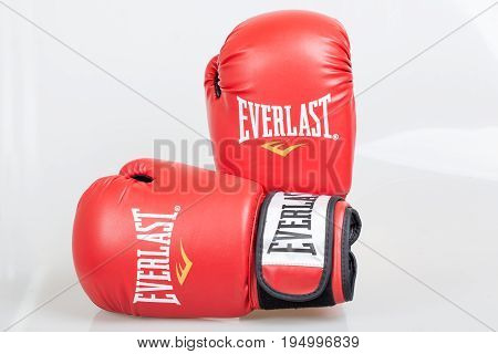 Varna Bulgaria - DECEMBER 17 2013: Everlast red boxing gloves.Everlast is an American brand. Based in Manhattan Everlast's products are sold in more than 75 countries. Product shot