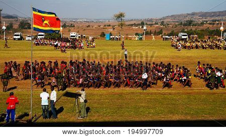 Women in traditional costumes dancing at the Umhlanga aka Reed Dance for their king 01-09-2013 Lobamba Swaziland