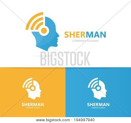 man and wifi logo combination. Face and signal symbol or icon. Unique human and radio, internet logotype design template.