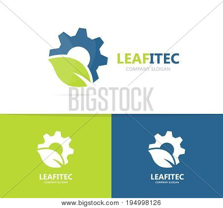 gear and leaf logo combination. Mechanic and eco symbol or icon. Unique organic factory and industrial logotype design template.