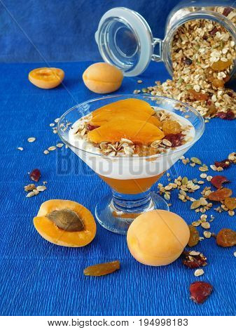 Portioned layered yogurt dessert decorated with apricots on a blue background