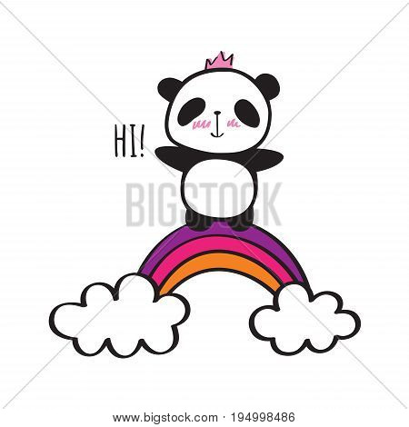 Cute panda with crown and rainbow. Hand drawn illustration for your design. Doodles, sketch. Vector.