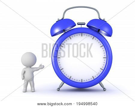 3D character showing a large alarm clock with no face. Isolated on white background.