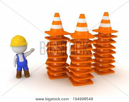 3D character in overalls and hard hat showing stacks of orange road cones. Isolated on white background.