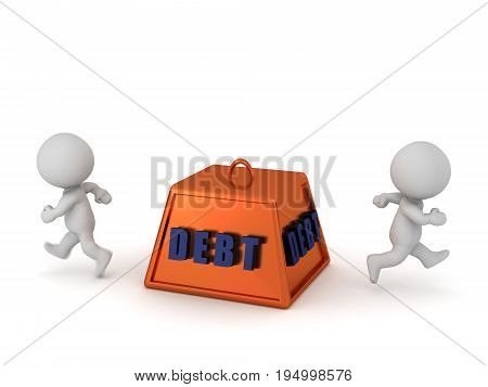 3D characters running away from a large debt weight. Isolated on white background.