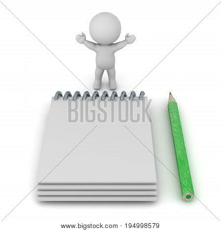 3D character with a large notepad and pencil. Isolated on white background.