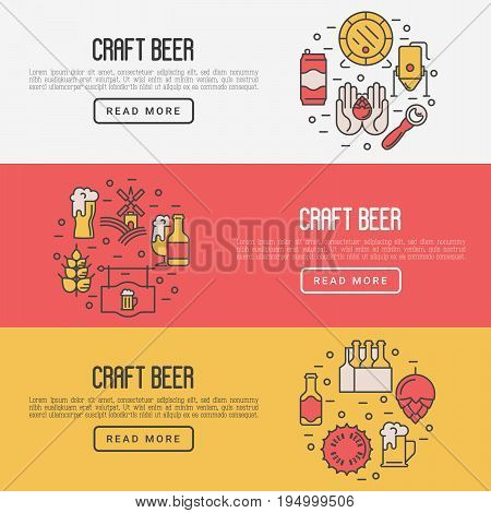 Craft beer concept with thin line icons. Template for invitation, banner, web page, print media. Modern vector illustration for brewery and beer October festival.