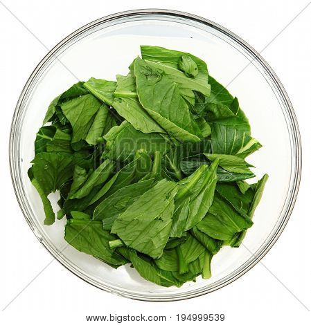 Bowl rinsed and chopped yu choy in glass bowl.