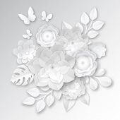 Elegant white paper cut flowers 3d bridal arrangement with  monstera leaf and butterfly handcraft realistic vector illustration poster