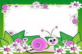 Kid scrapbook with snails and white daisies - Photo or message frames for children poster
