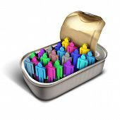 Packed like sardines idiom and over crowded metaphor as a crowd of diverse people icons inside a small can as a business or social and society issue for overpopulation or human services congestion with 3D illustration elements. poster