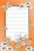 Kid notebook page with butterflies and white daisies - Lined page for children poster