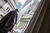 New York Stock Exchange from behind president George Washington statue in Wall street Manhattan poster
