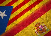 Image relative to politic situation between Spain and Catalonia. Catalonia vote for leaving from the Spain state. Democracy political process with referendum. National flags. poster