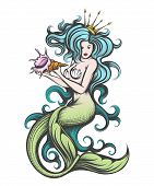Beauty blue haired siren mermaid with golden crown with seashell in her hands. Colorful Vector illustration in tattoo style. poster