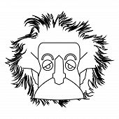 Isolated outline of Einstein character Vector illustration poster