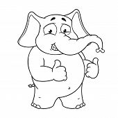 Elephant cute Nick. Big collection vector cartoon characters of elephants on an isolated background. Shows likes. EPS 10. poster