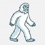 Cartoon yeti monster illustration. White hairy beast drawing. poster