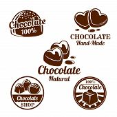 Chocolate, sweet food shop isolated symbol set. Chocolate candy and cacao dessert in shape of a heart brown icons with drops of melted chocolate for natural sweets label, confectionery emblem design poster