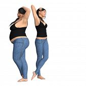 Conceptual fat overweight obese female vs slim fit healthy body after weight loss or diet with muscles thin young woman isolated. A fitness, nutrition or fatness obesity, health shape 3D illustration poster