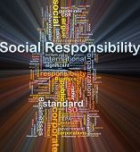 Background concept wordcloud illustration of social responsibility glowing light poster