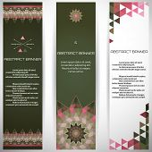 Set of three vertical banners. Multicolored triangles. Complied with the standard sizes. poster