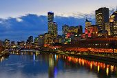 Downtown of Melbourne at night, Yarra river poster