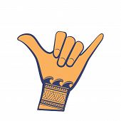 Surfing shaka hand sign with tribal wave tattoo. Hang loose hand gesture in blue and orange color with pattern. poster