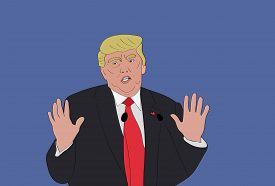 JULY, 2017: The 45th President of the United States Donald Trump with hands up. Caricature Cartoon Portrait of Donald Trump. Vector Illustration