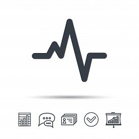 Heartbeat icon. Cardiology symbol. Medical pressure sign. Chat speech bubble, chart and presentation signs. Contacts and tick web icons. Vector